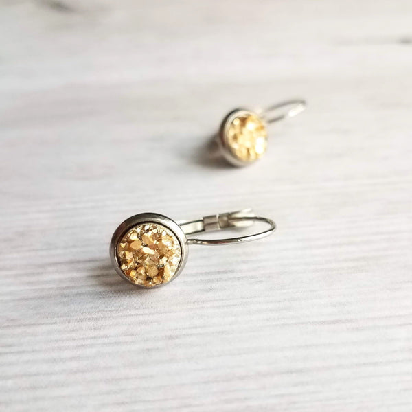 Silver & Gold Earrings - metallic bumpy faux rock drusy on steel latching leverback - rough jagged iridescent drusy stone imitation - Constant Baubling