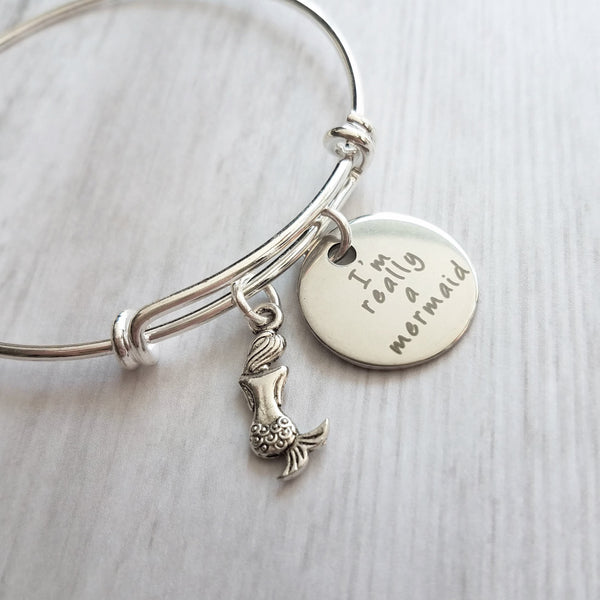 Mermaid Charm Bracelet - silver adjustable wire bangle - fantasy vacation sea theme underwater birthday gift - I'm really a mermaid - Constant Baubling