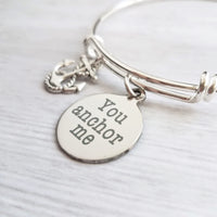 Love & Friendship Bracelet - you anchor me - silver wire adjustable bangle charm bracelet - support rock - wife/best girl friend gift - Constant Baubling