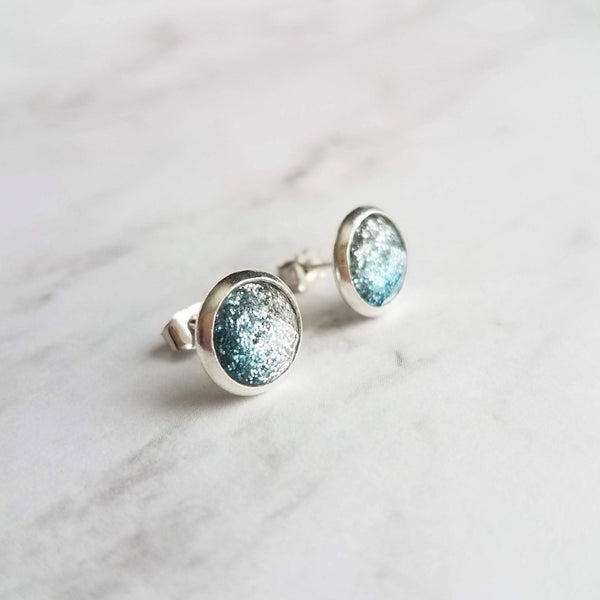 Blue Stud Earrings - glitter ombre silver to blue gradient facet cut in little round silver bezel - small simple sparkling everyday jewelry - Constant Baubling