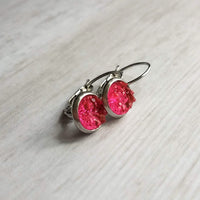 Small Hot Pink Earring - rough bumpy faux rock druzy/hypoallergenic stainless steel latching leverback - sparkling jagged stone imitation - Constant Baubling