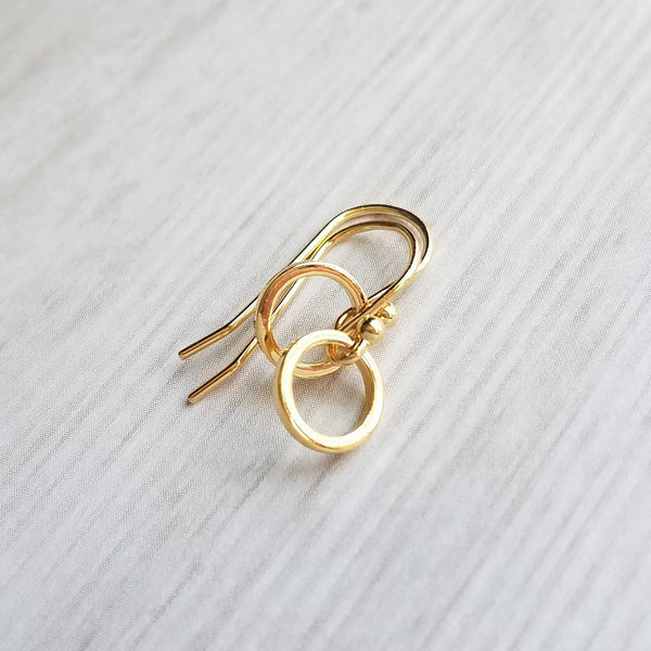Silver Hoop Earrings - tiny little simple circle rings dangle from small ball ear hooks - minimalist delicate lightweight - gifts for her - Constant Baubling