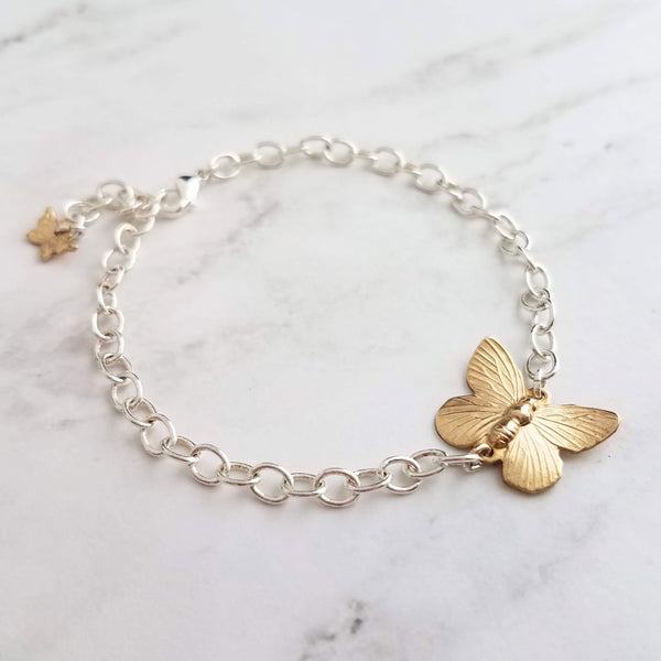 Silver/Gold Butterfly Bracelet - mixed metal two tone brass jewelry - simple minimalist adjustable custom length - handmade gift for her - Constant Baubling