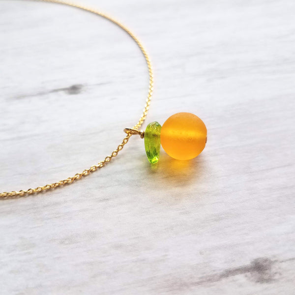 Orange Necklace - fruit pendant w/ green leaf - small juicy glass translucent fun unique summer Florida fruit - little simple gold chain - Constant Baubling