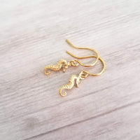 Gold Seahorse Earrings - tiny little brass dangles - choose small simple hooks 14K SOLID gold, filled or plated - tropical beach sea gift - Constant Baubling