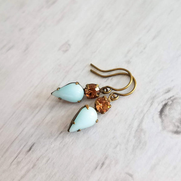 Topaz Earring with inverted baby blue smooth glass teardrop - faceted round genuine Swarovski crystal - antiqued oxidized brass bronze hook - Constant Baubling