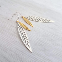 Long Thin Leaf Earrings - narrow mixed metal gold/silver modern outline filigree autumn fall leaves - gift for her - wife anniversary gift - Constant Baubling