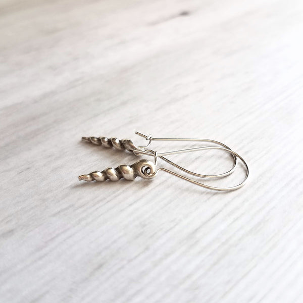 Silver Seashell Earrings - little aged coiled spiral auger style charm dangle - latching kidney ear hook - ocean beach vacation gift for her - Constant Baubling