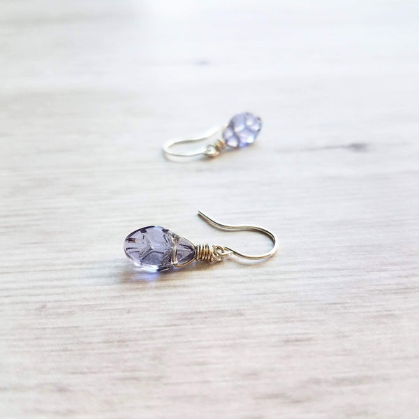 Purple Leaf Earrings - little translucent sterling silver wire wrapped small fall leaves in light amethyst glass - autumn birthday gift - Constant Baubling