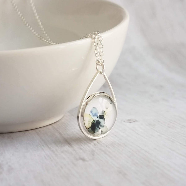 Watercolor Necklace - blue grey white yellow splotch teardrop pendant - alcohol ink style paint drop art print - delicate thin silver chain - Constant Baubling