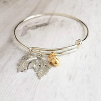 Oak Tree Bracelet - silver leaves & small gold acorn charm on adjustable double loop bangle bracelet - autumn fall birthday gift for her - Constant Baubling