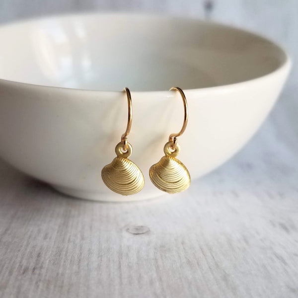 Clam Shell Earrings - tiny little gold beach charm - ocean lake vacation souvenir jewelry - small clamshell mollusk memento gift for her - Constant Baubling