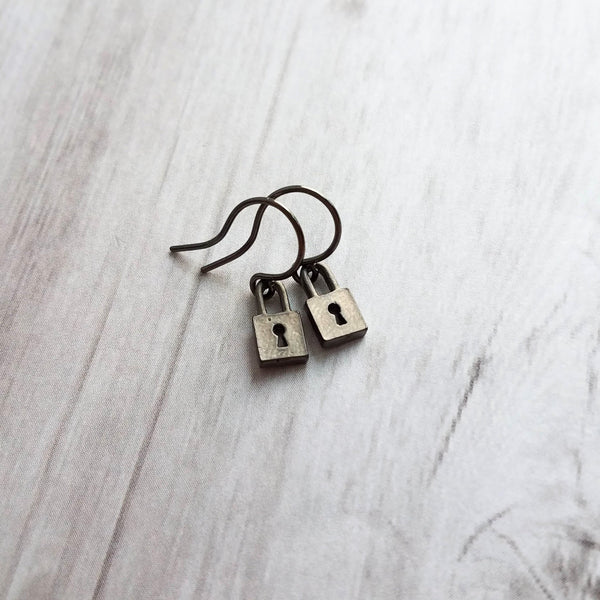 Tiny Padlock Earrings - little black gunmetal lock charm & key hole cut out - love slave miniature handmade dangle - promise commitment gift - Constant Baubling