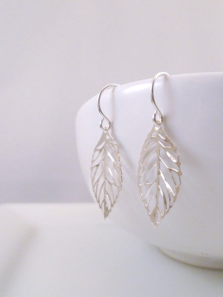 Silver Leaf Earrings Simple Delicate Autumn Small Handmade