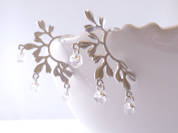 Vine Chandelier Earrings - matte silver leaf tree branch posts - clear glass dew water drop beads - curved semi circle pierced hoop posts