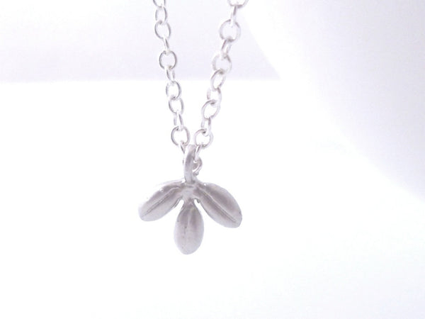 Small Silver Leaf Necklace - tiny matte finish charm - delicate little silver chain - minimalist simple tree leaves pendant - gift under 20