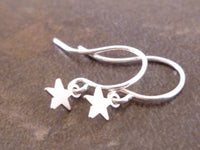 Tiny Silver Star Earrings - celestial micro mini matte silver minimalist charm dangles on small delicate silver plated ear hooks - simple little star