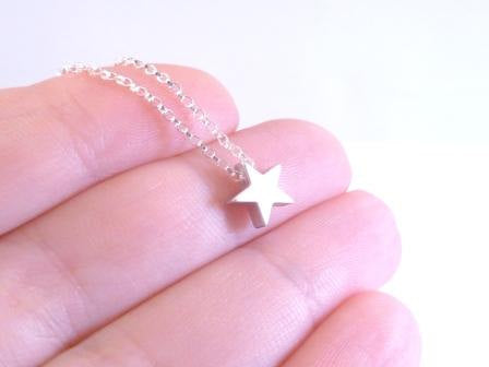Silver Star Necklace - .925 sterling silver rolo chain w/ simple minimalist matte rhodium small charm pendant - Baby I'm a STAR