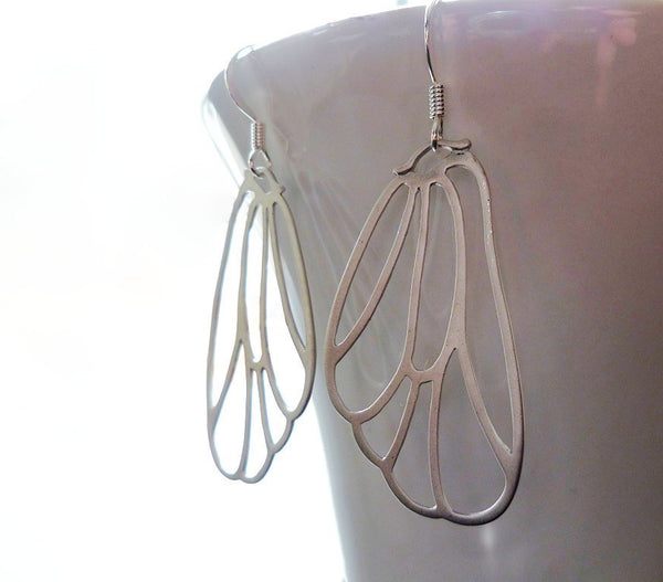 Butterfly Wing Earrings - large delicate lightweight filigree outline earrings in matte silver or gold - Fairy Flutter Fly