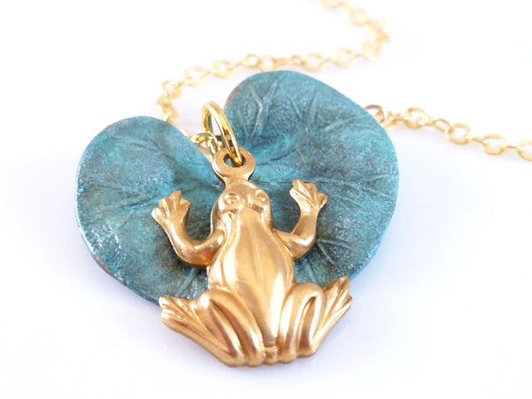 Lily Pad Frog Necklace - little blue green hand painted verdigris patina brass lilypad pendant and charm on simple gold plated long chain