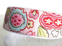 Floral Ribbon bracelet - boho pink blue green modern Dutch flower jacquard / grosgrain ribbon bracelet adjustable size with glass leaf charm