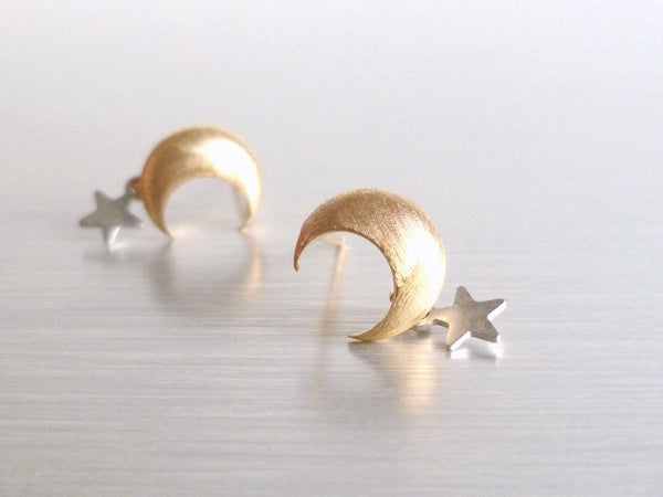 Star Moon Earrings - teeny tiny brushed gold crescent moon stud sterling silver post - bitty matte silver rhodium star dangle - Little Wish