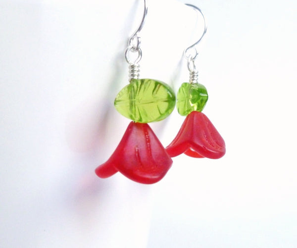 Red Flower Earrings - small glass poppy flowers with green glass leaves swing from sweet little silver plated ear hooks - Garden Poppies