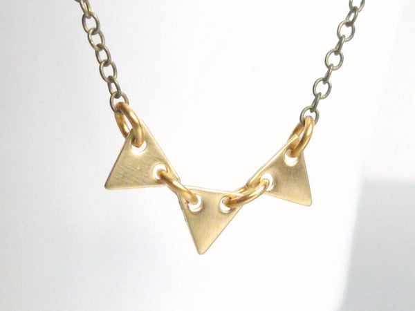 Small Triangle Banner Necklace - gold tiny vintage raw brass bunting on antique brass / bronze delicate chain - Geometric Pennant Flag