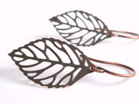 Copper Leaf Earrings - small modern outline filigree leaves in dark antique copper brown w/ tiny aged copper ear hooks - autumn fall gift
