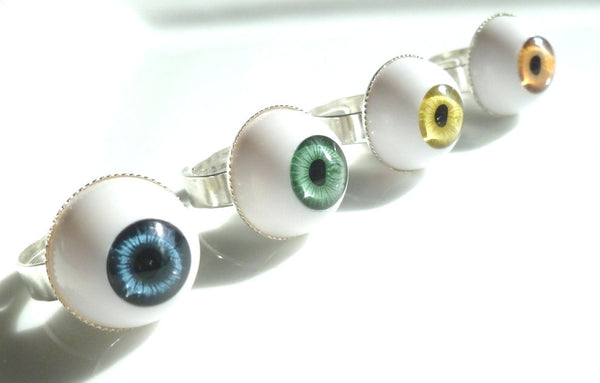Eye Ring - adjustable band with 3D eyeball in blue / green / brown / hazel iris - spooky goth Halloween party favor gift / accessory creepy