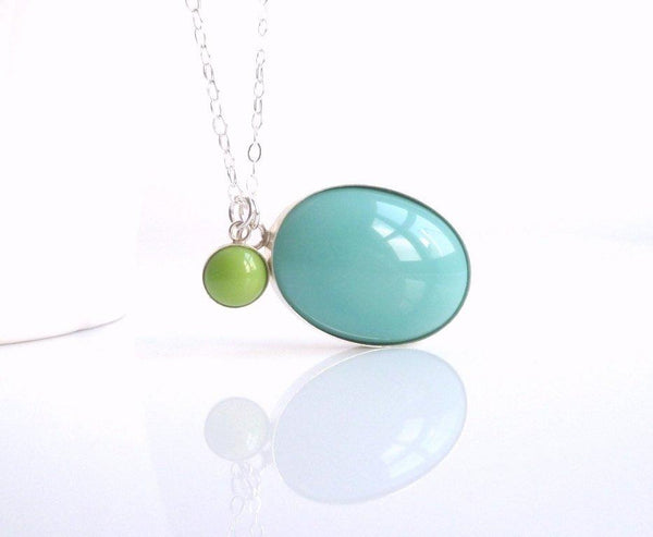 Blue Pendant Necklace - .925 sterling silver bezel set vintage glass in aqua blue oval shape and mint green small round shape - sterling silver delicate chain
