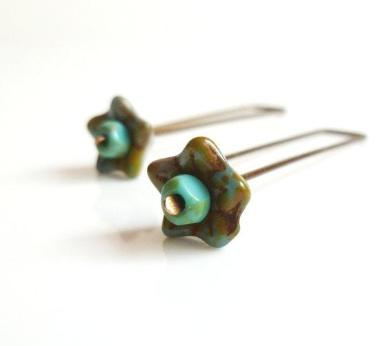 Boho Flower Earring - long simple modern Bohemian Gypsy floral antique bronze square top wire - straight drop brown / aqua glass