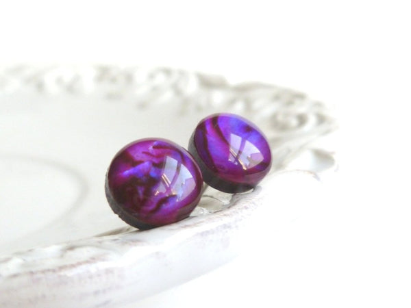 Small Purple Earrings - little round grape violet fuchsia swirl button paua shells - surgical steel posts / backings - fun and simple studs