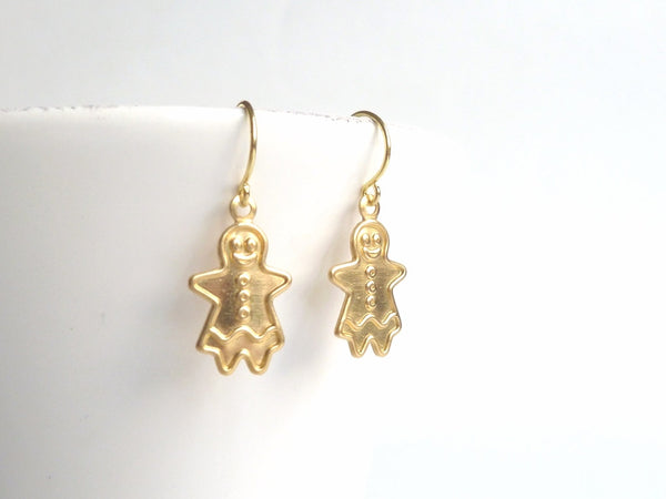 Gingerbread Girl Earrings - brass cookie shaped little ladies on simple gold hooks - Sweet Ginger Holiday Jewelry