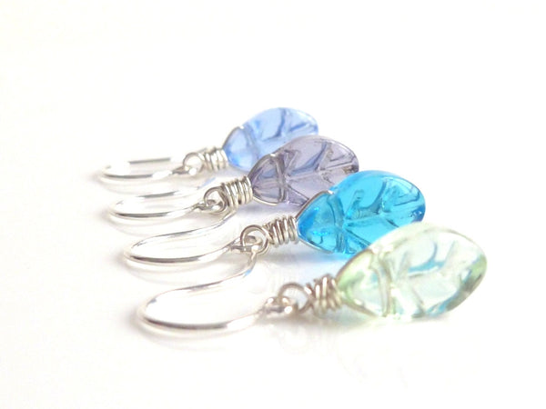 Leaf Earring - little colorful silver wire wrapped fall glass leaves in pale sage green - periwinkle blue - bright aqua - purple amethyst