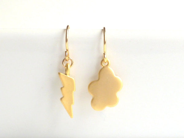 Weather Earrings - little gold lightning bolt / fun small mismatched puffy storm cloud dangles on petite delicate gold plated ear hooks