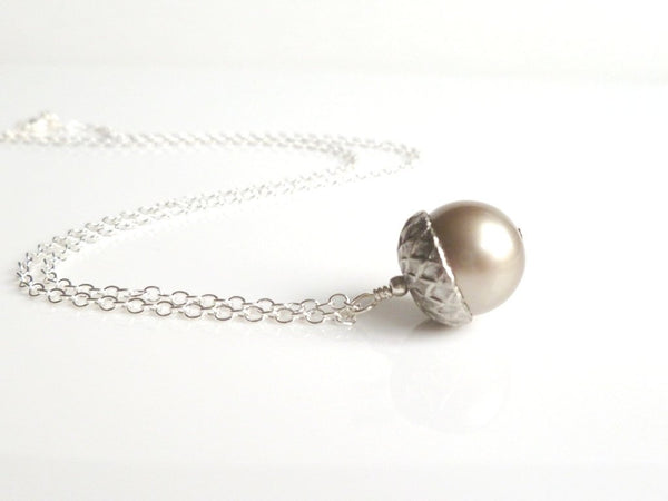 Silver Acorn Necklace - genuine Swarovski pearl pendant capped in matte silver / pewter on a delicate silver plated chain - Squirrel Nut