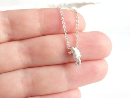 Seahorse Necklace - .925 sterling silver rolo chain w/ tiny little brushed sea horse beach slider charm pendant - small minimalist simple