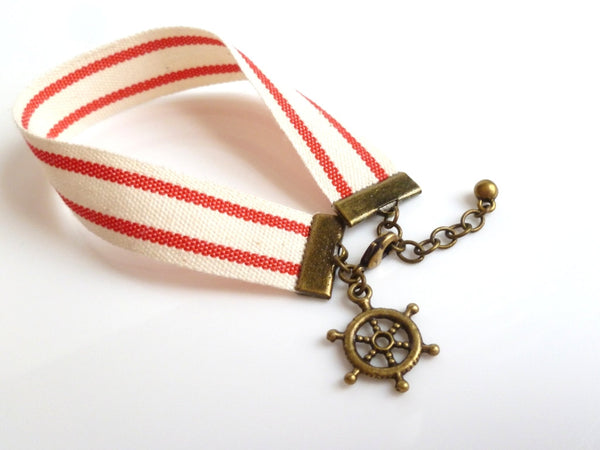 Striped Red Bracelet - nautical cream cotton canvas cloth material with boat wheel helm charm - adjustable antique brass / bronze finish