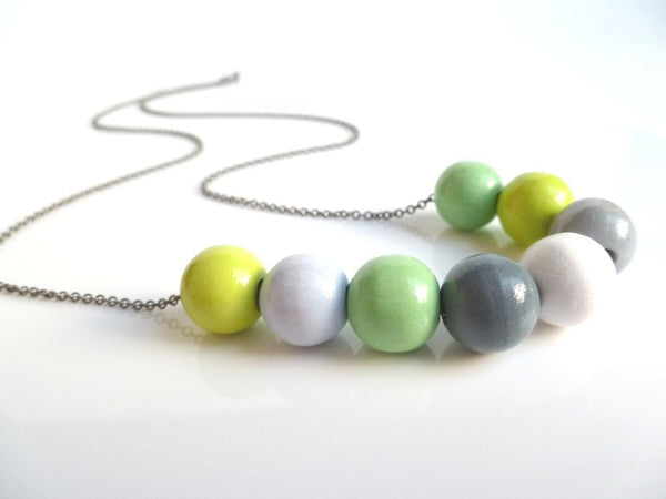 Wood Bead Necklace - spring color painted round wooden beads in fresh lime / mint green / greys / white on long gunmetal dark silver chain