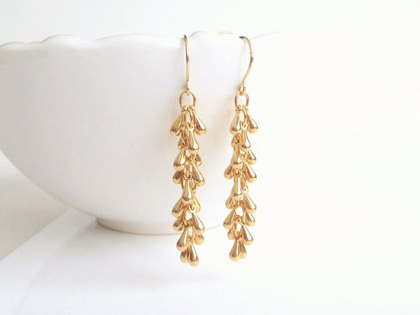 Long Gold Earrings - thin cascade tassel fringe of teardrops dangle from simple little ear hooks - Golden Drop Waterfall - handmade jewelry