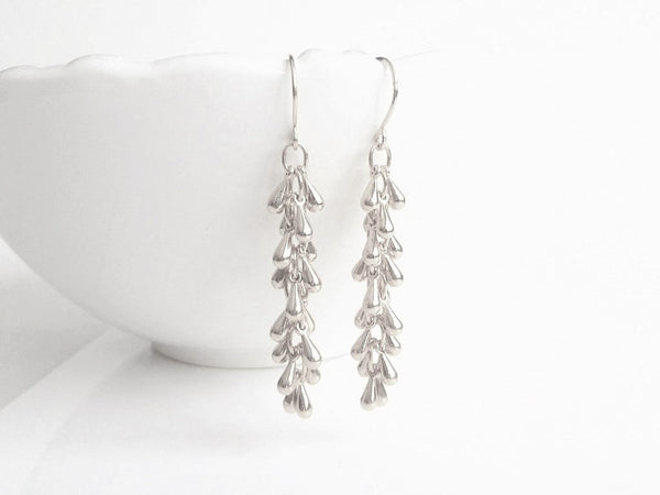 Shaggy Silver Earrings - long thin cascade fringe of small teardrops dangle from simple little dainty delicate hooks - Waterfall Drop