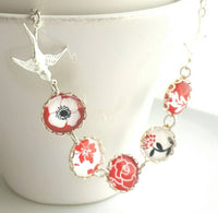 Silver Bird Necklace - red / black / white floral glass covered bubble round scalloped charms - nature flower handmade gift for her