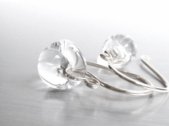 Clear Drop Earring - 925 sterling silver hooks with small boro glass lampwork teardrops - smooth organic shape crystal water solid glass