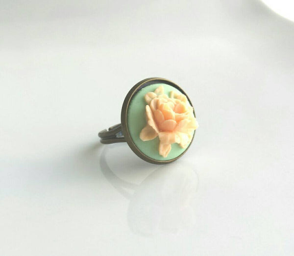 Cabbage Rose Ring - Peach orange flower on mint green - adjustable antiqued brass bronze band - vintage resin - bold statement size 6 7 8 9