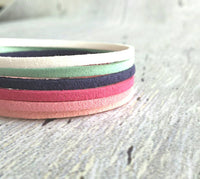 Cuff Bracelet- suede faux strand wrap style - adjustable silver clasp - mint white hot pink navy blue salmon fuchsia stack - vegan leather