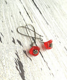 Red Poppy Earrings - bright crimson three petal boho bell glass flower drop on gunmetal dark kidney locking ear wire - antique black silver