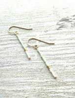 Gold Mint Earrings - 14K gold fill beaded color block sticks - minimalist thin delicate line of glass beads - simple trendy pale green white