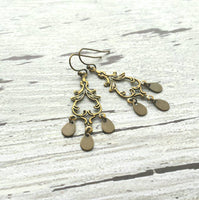Rustic Chandelier Earrings - boho hippie antiqued brass / gold bronze teardrop dangles - lacy flourish fancy swirl design - lightweight