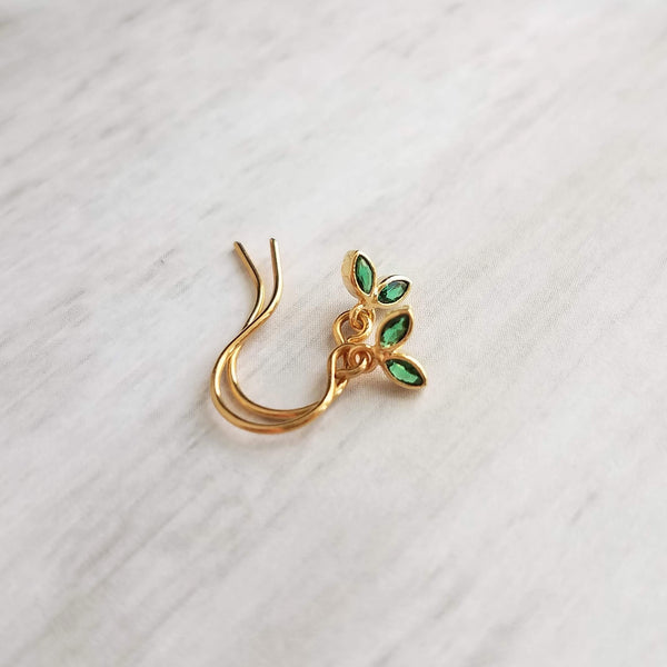 Tiny Crystal Leaf Earrings - little green / gold leaflet dangle charms, upgrade to 14K SOLID gold or gold fill hooks, girls fall jewelry gift